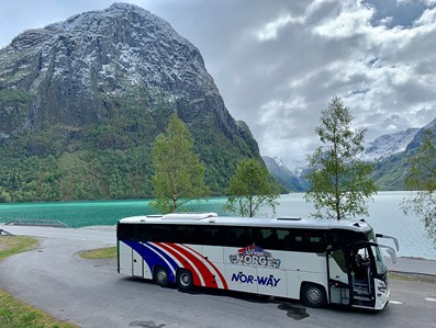 NOR-WAY Bus Express bus at fjord and mountain